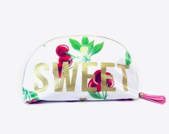 Sweet Cherry Makeup Bag, Cosmetic Bag, Makeup Bag, Cherry Bag, Holiday Bag, Washable Makeup Bag, Sweet Bag, Graphic Bag, Bag, Pink Tassel