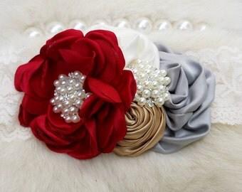 Holiday Headband/Holiday Shabby Headband/Newborn Headband/Flower Headband/Girl Headband/Baby Girl Headband/Flower Headband/Baby Headband