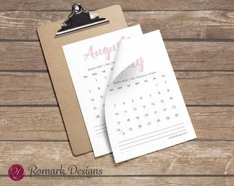Printable Calendar (Blush)