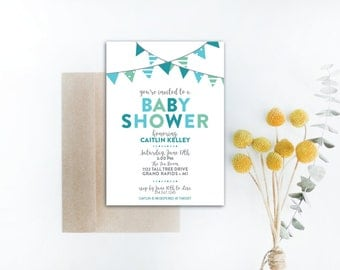 INSTANT DOWNLOAD baby shower invitation / boy baby shower / blue ombre invite / blue baby shower / baby boy shower / diy shower invitation