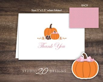 Instant Download Pink Pumpkin Thank You Card, Folded Girl Pumpkin Baby Shower Thank You Card, Folded Pumpkin Birthday Thank You Card #83A