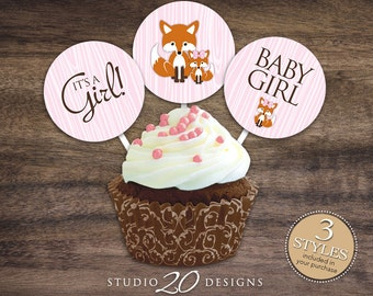 """Instant Download Pink Fox Cupcake Toppers, 2"""" Fox Baby Shower Cupcake Toppers, It's a Girl Fox Cupcake Toppers, Girl Pink Brown Fox Pops 65B"""