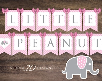 Instant Download Pink Elephant Baby Shower Banner, Printable Pink Grey Elephant Bunting Banner, Little Peanut Elephant Banner #22B