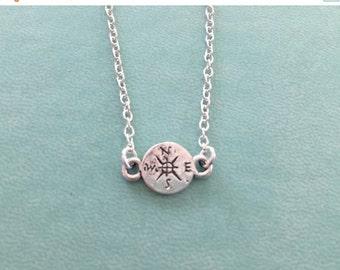 SALE True North Compass Necklace, Distance, minimalist silver charm, graduation, wedding, gift