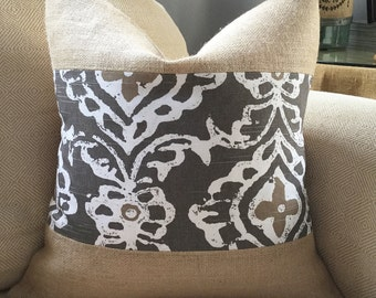 Brown Ikat Pillow Cover in Lacefield Kashmir fabric & burlap