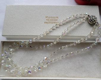 Vintage necklace , Crystal aurora borealis 2 strand row , Round aurora borealis clasp 1950's