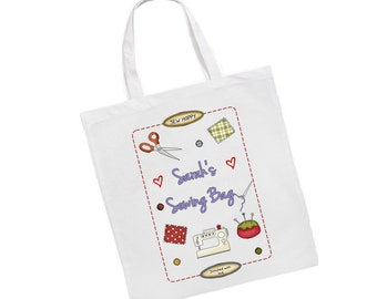 Personalised Sewing Long Or Short Handled Tote Bag Gift Present
