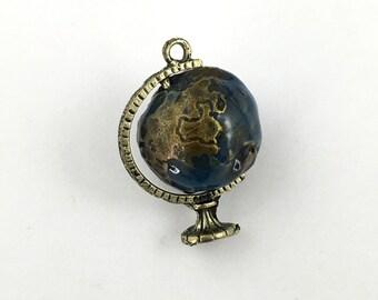 1 earth globe 3D enamel and bronze tone,25mm x 37mm #CH 310