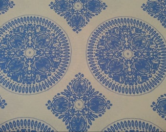 Royal Blue Medallion Fabric, 100% Cotton, Fabric by the Yard, Quilting, Home Decor, Crafting