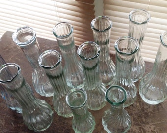 Clear Glass Bud Vases Wedding Lot of 12 Floral Centerpiece Gift