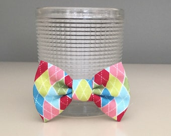 Tiny Dog Bow / Bow Ties - Argyle Red Green Pink Blues