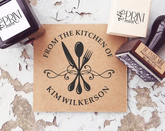 From the Kitchen of  Stamp,  Made by Stamp,  Cooked by Stamp, Self inking Kitchen Stamp,  Recipe Stamp - 60006
