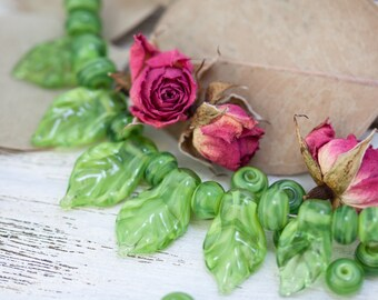 Set of 6 Lampwork Leaves and 16 Spacers, Lampwork Leaf Beads, Glass Leaves, Glass Beads