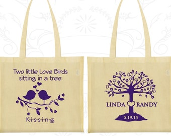 Two little love birds sitting in a tree Kissing, Wedding Favor Gift Bags, Love Tree, Love Birds Wedding Bags, Personalized Tote (249)