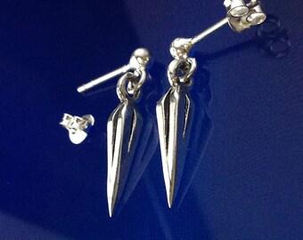 925 Solid Sterling Silver Spear Point Earrings /Stud Dangle/Earring Jacket/Dangling/Oxidized/Spear Earrings