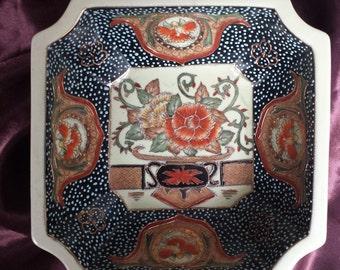 VINTAGE SATSUMA Hand painted Geometric Bowl