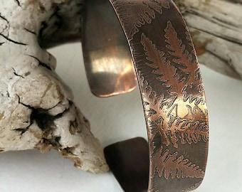 Fern Etched Copper Cuff Bracelet