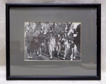 Old Black & White Marching Photograph w. Complementary Black Vintage Wood Frame