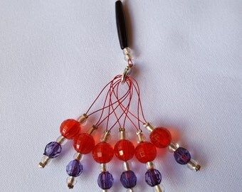 6 x Beaded Stitch Markers with Holder for Knitting - Medium