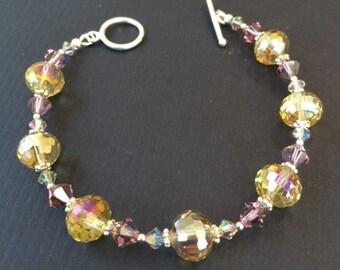 Swarovski Yellow and Rose Crystal Bracelet (B5)