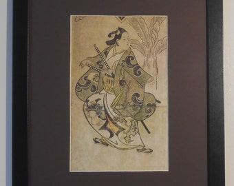 """Mounted and Framed - Actor Shinoma in a Samurai Robe Print by Torii Kiyonobui - 16"""" x 12"""""""