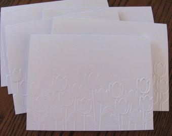 Tulip Embossed Cards, Spring Cards, Easter Card set, Blank Notecards, Handmade Cards, Embossed Card Set, Embossed Note cards, Easter Cards