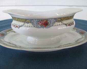 Vintage Victoria China Gravy Boat With Attached Plate Czechoslovakia VintageServing Dinnerware Sauce Bowl Dining