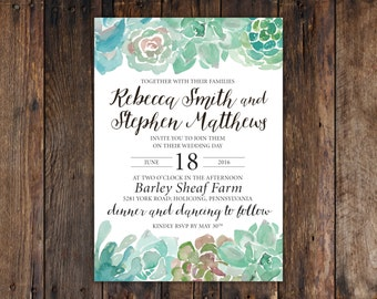 """Watercolor Succulent Wedding Invitation (5""""x7"""") Green and Blue with Rustic Calligraphy"""