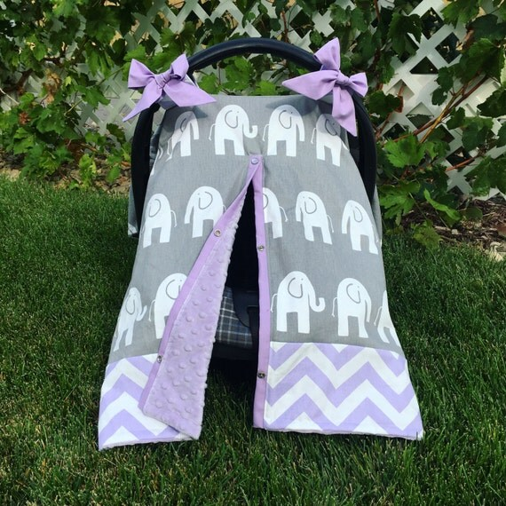 lavender elephant opening car seat canopy with grey elephants. Black Bedroom Furniture Sets. Home Design Ideas