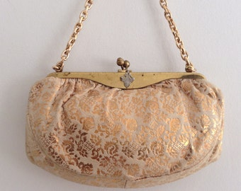 Vintage Gold Leather Evening Bag