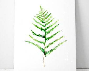 Fern Watercolor Painting - Giclee Print - green Wall Decor - fern Art - illustration - zen art - fern painting green decoration