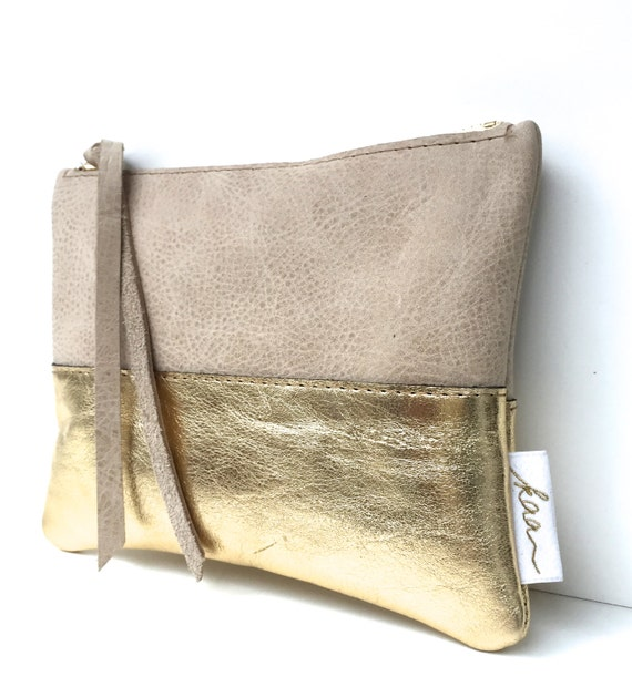 Her Leather Clutch, Bridesmaid Clutch, Adult Daughter Gift, Small Boho Purse, Leather Boho Clutch | Gold Leather Purse or Dinner Bag for Her