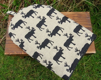Marching Moose.  A cafetiere cosy.  Size large, to fit a 6 -8 cup cafetiere.  Coffee cosy.