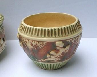 Antique Roseville Pottery Planter, Roseville Donatello Jardiniere, Ohio Pottery