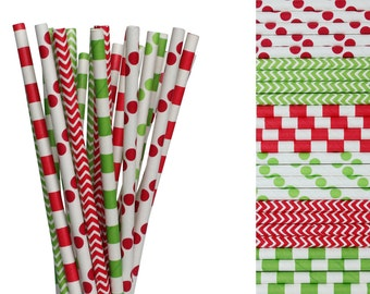 Christmas Paper Straw Mix-Red Polka Dot-Holiday Party Straws-Lime Green Straws-North Pole Party Decor-Chevron Straws-Striped Hot Cocoa Straw