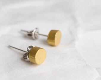 Stud earrings, tiny earrings, gold stud earrings, gold earrings, earrings studs, FREE SHIPPING, wooden earrings, minimal