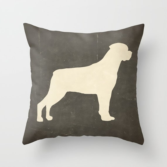 Rottweiler Pillow Decorative Pillow Custom Dog by HappyPillowShop