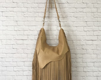 Fringed Leather Boho Bag / Fringe Leather Hobo Bag / Leather Hobo Bag / Leather Fringe Boho Crossbody / Rustic Leather Bag / Rustic Purse