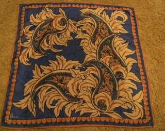 Rare Vintage Vera Ladybug blue/beige/rust hand rolled scarf