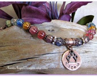 Custom Rainbow Bridge Pet Bracelet; Rainbow Bridge Stamped Bracelet; Death of Pet Gift; Rainbow Bridge Cat; Rainbow Bridge Dog; Pet Sympathy