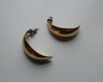 Vintage Gold Tone Half Hoop Earrings