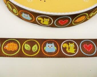 """1 m Woven Ribbon """"Owl, hedgehog +   squirrel"""" 22 mm w."""