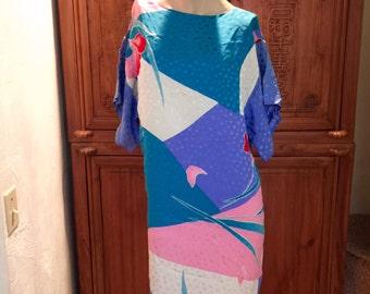 Designer Flora Kung Silk Artist Asian Shift Shirt Avant Garde Vogue Dress