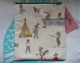 Handmade XL Makeup Bag Pirates Cowboys Indians Belle and Boo Fabric Padded Lined nursery bag