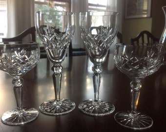 Antique Fine Crystal wine Glasses and Champagne Coupes - 4 pieces