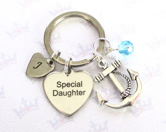 Personalised anchor keyring for Special daughter - Daughter birthday - Special Daughter keychain - Daughter gift - Daughter keyring - UK