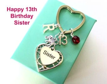 Personalised 13th gift for Sister - 13th birthday sister keyring - Elephant keyring - Sister birthday - 13th keyring - Sister gift - UK
