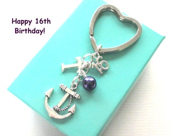 16th birthday gift - Anchor keychain - Personalised 16th keyring - 16th birthday - Anchor keyring with pearl - Initial keyring - UK seller