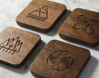 Nature Coasters (Set of 4) Wood (Walnut, White Oak, Maple)