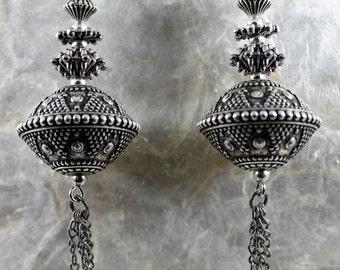 Tibetan Silver Beaded Chain Dangle Earrings